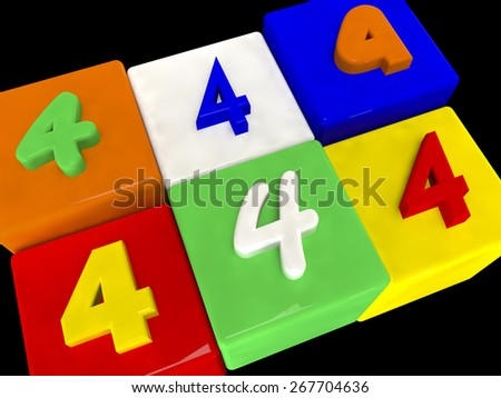 4 different numbers in perspective on black - stock photo