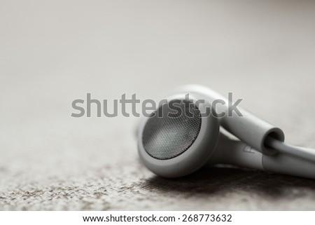 digital music white Headphones - stock photo