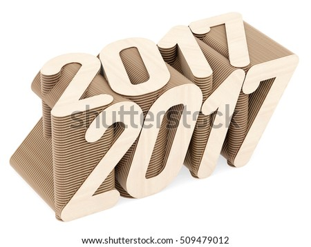 2017 digits composed of intersected wood panels on white background. High resolution 3D image