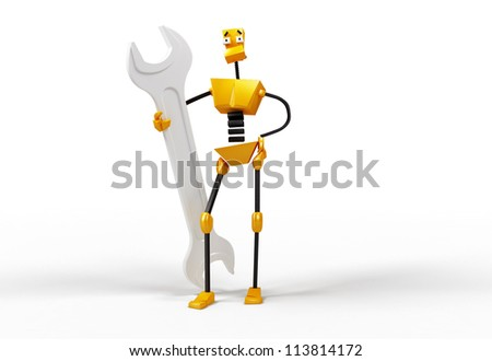 3-dimensional image of robot with a wrench - stock photo