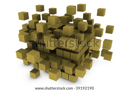 3dimensional of cubes - stock photo