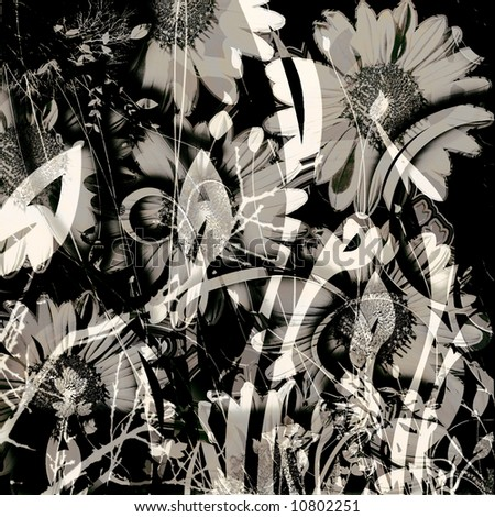 3-dimensional whimsical daisy floral garden with black and white gradient color elements - stock photo