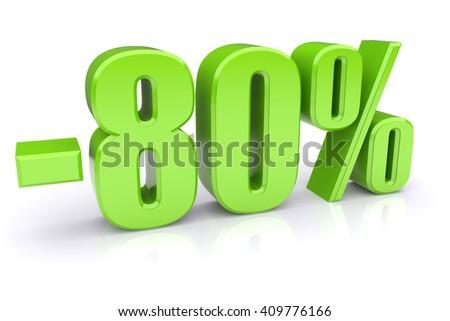 80% discount icon on a white background - stock photo