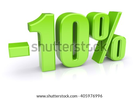 10% discount icon on a white background  3d illustration - stock photo