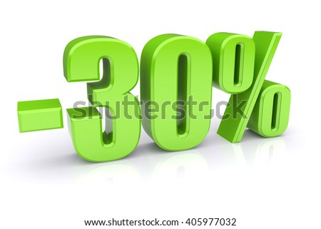 30% discount icon on a white background 3d illustration - stock photo
