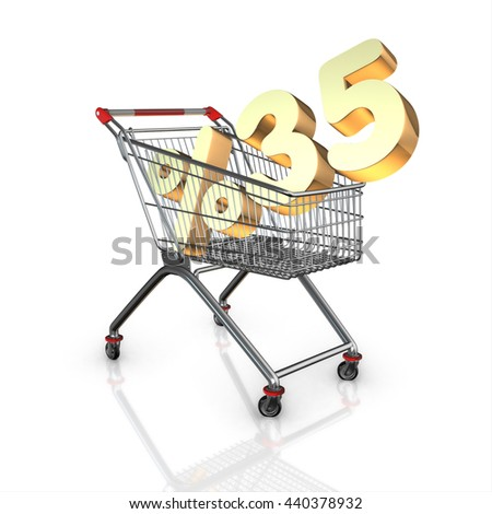 % 35 discount in shopping cart, 3d render with white background isolated