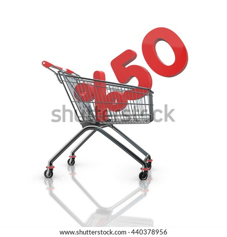 % 50 discount in shopping cart, 3d render with white background isolated