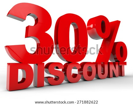 30% Discount over white background - stock photo