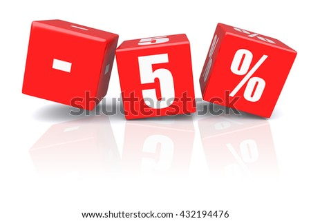 5% discount red cubes on a white background. 3d rendered image - stock photo