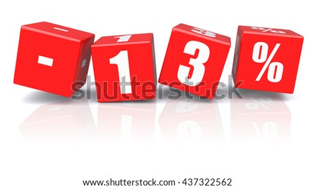 13% discount red cubes on a white background. 3d rendered image - stock photo