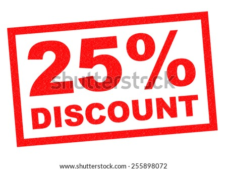 25% DISCOUNT red Rubber Stamp over a white background. - stock photo