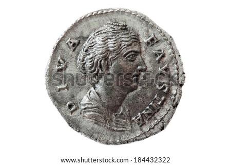 Diva faustina, Roman coin - stock photo