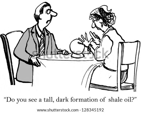 """""""Do you see any tall dark formations of shale oil?"""" - stock photo"""