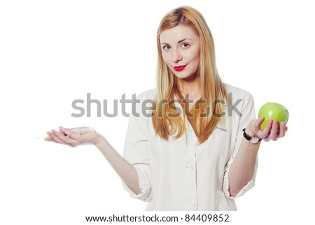 doctor with apple - stock photo