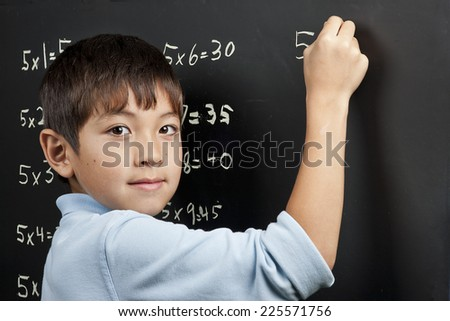 Doing his multiplication. - stock photo