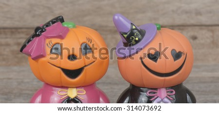 Doll Halloween pumpkins.  - stock photo