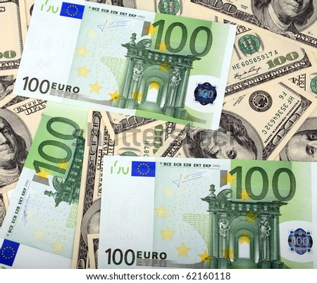100 dollar and euro banknote