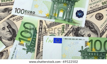 100 dollar and euro banknote - stock photo