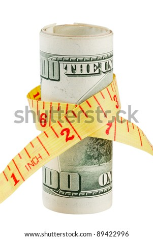 100 dollar bank note and tape measure, isolated - stock photo