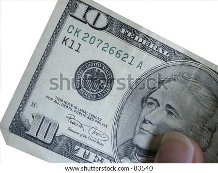 10 dollar bill - stock photo