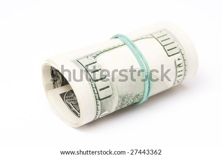 100 dollar bill isolated on a white background - stock photo
