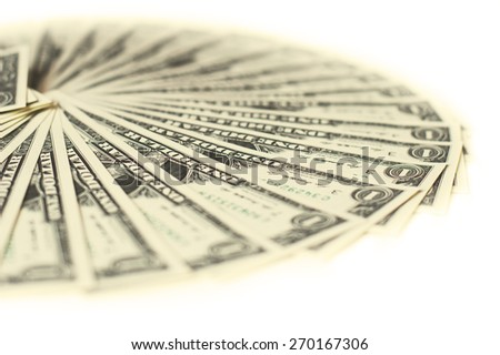 1 Dollar Bills; Cash Currency isolated isolated - stock photo