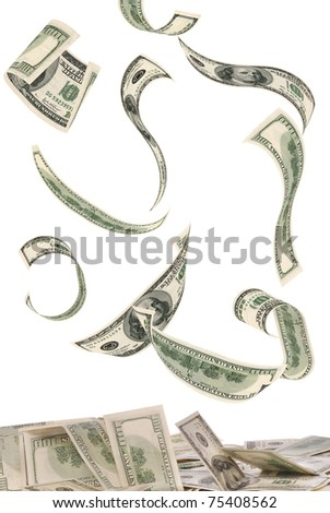 100 dollar bills, flying on white background. The image of very big resolution. - stock photo