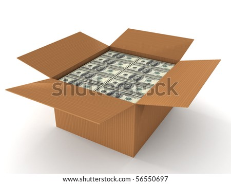 100 dollar bills in cardboard isolated on white background. High quality 3d render. - stock photo