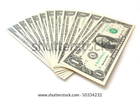 1 dollar bills isolated - stock photo
