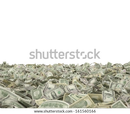 1,5,10,20,50,100 dollar bills on the ground - stock photo