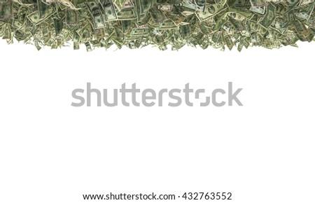 1,2,5,10,20,50,100 dollar bills on the ground. 3d illustration - stock photo