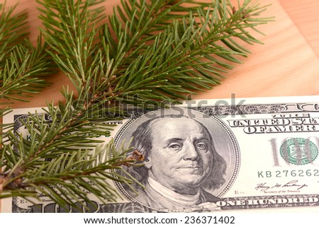 100 dollars and green eve on wooden plate - stock photo