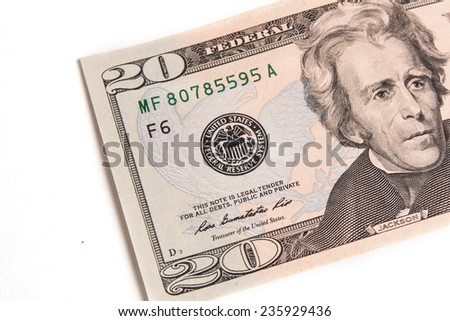 20 dollars banknote isolated on white background - stock photo