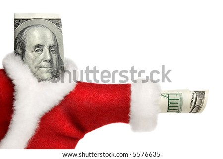 100 dollars banknote rolled and  dressed in Santa's uniform - stock photo