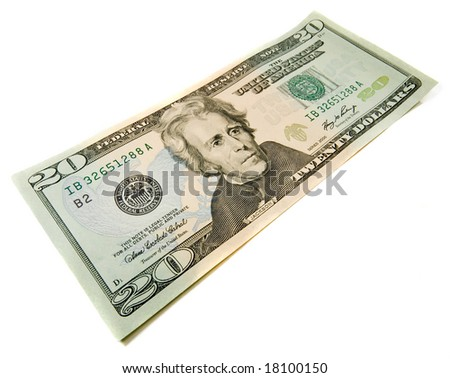 20 dollars bill. Wide angle view. Isolated over white. Business concept - stock photo