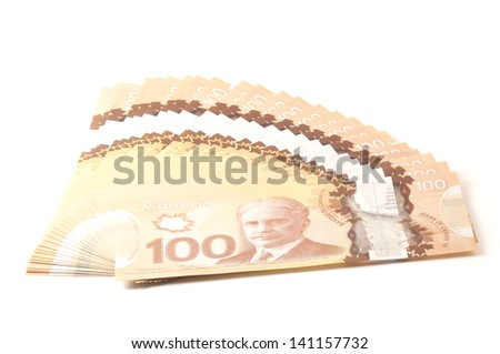 100 dollars Canadian bank notes in polymer - stock photo