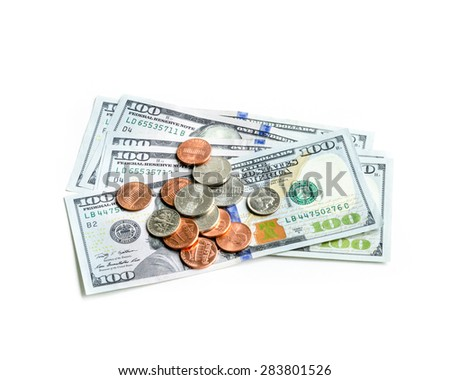 100 dollars (dollars banknote ) isolated on white background. One hundred dollars on white background. - stock photo