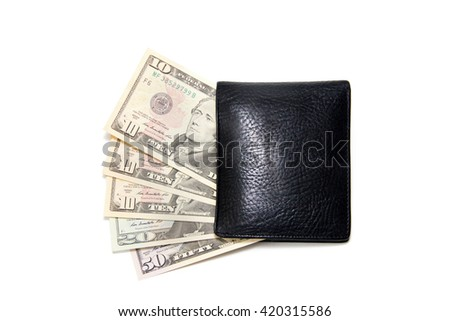 10, 20, 50 dollars  in black wallet isolated on white - stock photo