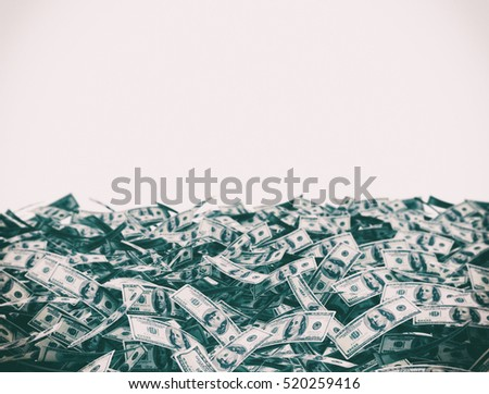 100 dollars on the ground isolated on white background. 3d render