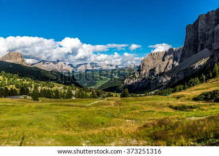 Dolomites in Italy - Val Gardena -  Rock formations of Passo Sella