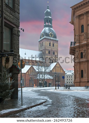 Dome cathedral at the early winter morning, Riga, Latvia.  - stock photo