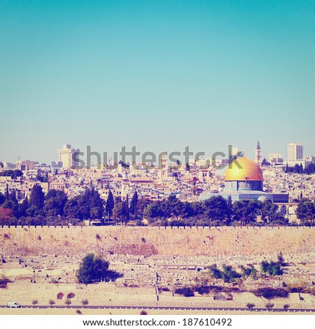 Dome of the Rock  in Old City of Jerusalem, Instagram Effect - stock photo
