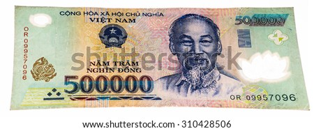 500000 dong bank note of Vietnam. Dong is the national currency of Vietnam