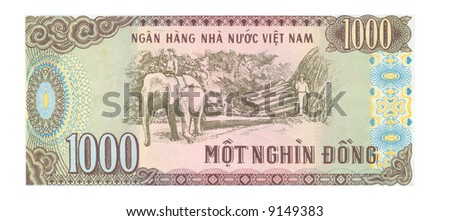 1000 dong bill of Vietnam, brown. pink, cyan colors