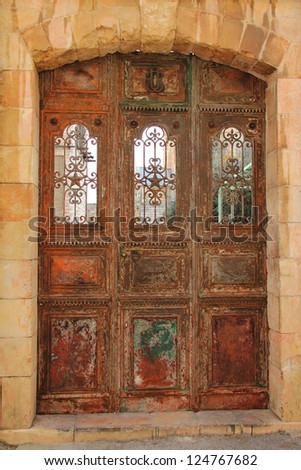 Door of Armenian monastery of Saint Sauveur. Jerusalem