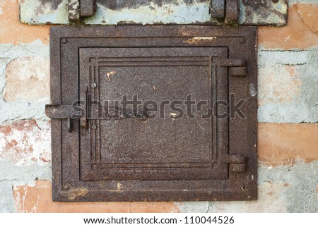 door of old outdoor stove