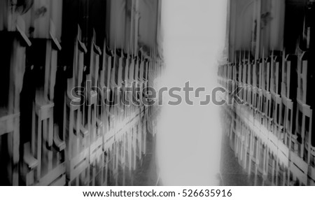 Door to God. Conceptual design. Religion theme. Entrance or Exit Door of the Church of God, Abstract Blur Defocus Background.