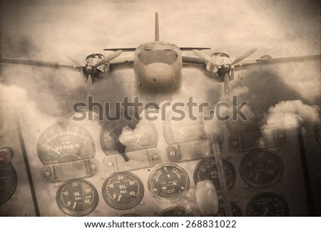 'Double exposure vintage grunge style' image of vintage aircraft and clouds. Use as background image. - stock photo