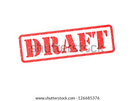 'DRAFT' red rubber stamp over a white background. - stock photo