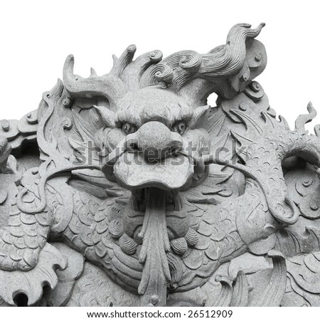 dragon stone carving is isolated pure white background(with path)